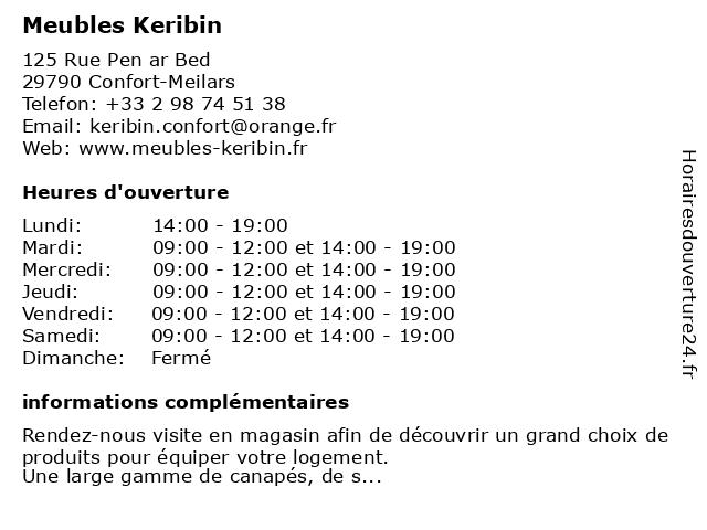 Meubles Keribin à Confort-Meilars: adresse et heures d'ouverture