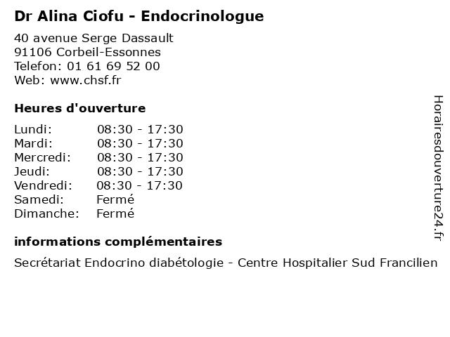 Dr Alina Ciofu - Endocrinologue à Corbeil-Essonnes: adresse et heures d'ouverture