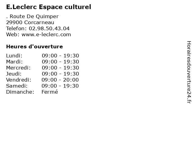 E.Leclerc Espace culturel à Corcarneau: adresse et heures d'ouverture