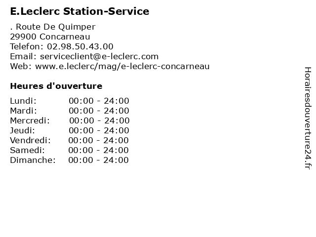 E.Leclerc Stations-Service à Corcarneau: adresse et heures d'ouverture