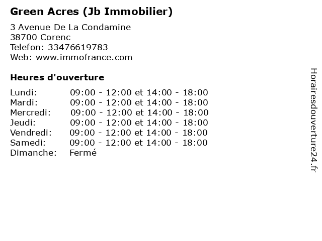Green Acres (Jb Immobilier) à Corenc: adresse et heures d'ouverture