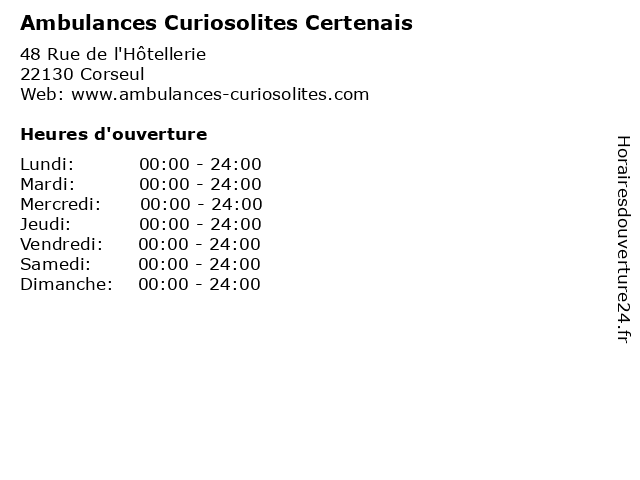 Ambulances Curiosolites Certenais à Corseul: adresse et heures d'ouverture