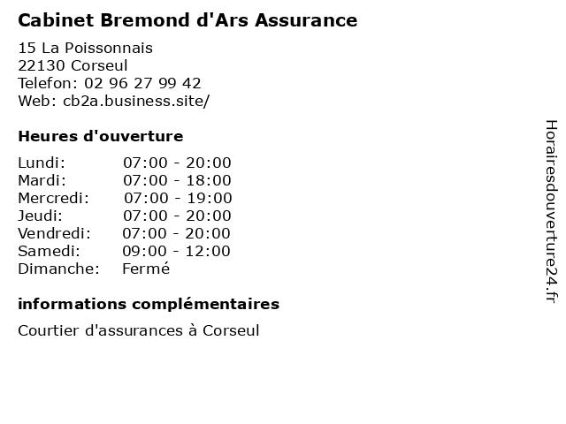 Cabinet Bremond d'Ars Assurance à Corseul: adresse et heures d'ouverture