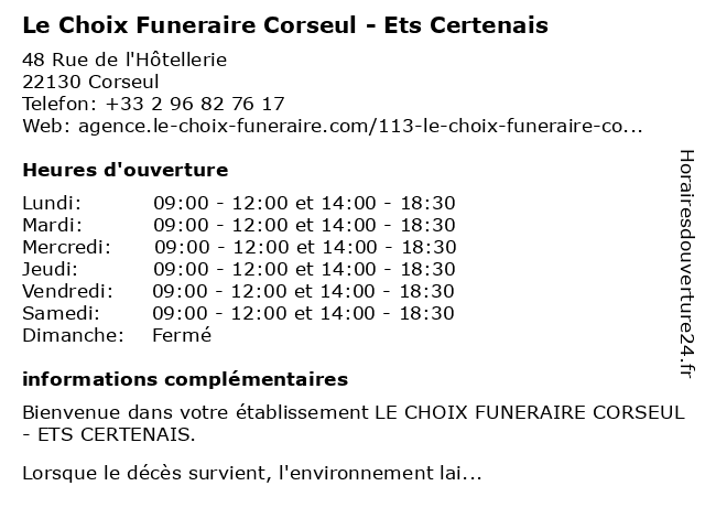 Le Choix Funeraire Corseul - Ets Certenais à Corseul: adresse et heures d'ouverture