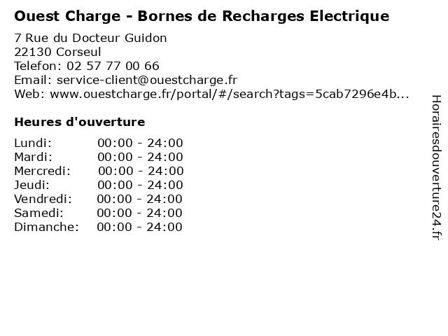 Ouest Charge - Bornes de Recharges Electrique à Corseul: adresse et heures d'ouverture