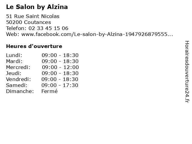 Le Salon by Alzina à Coutances: adresse et heures d'ouverture