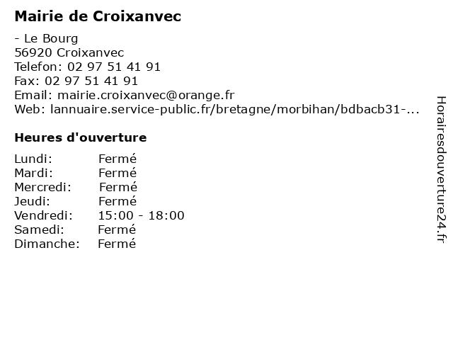 Mairie de Croixanvec à Croixanvec: adresse et heures d'ouverture