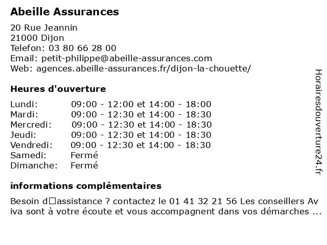 Aviva Assurance à Dijon: adresse et heures d'ouverture