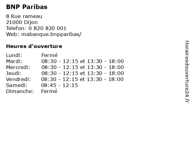 BNP Paribas à Dijon: adresse et heures d'ouverture