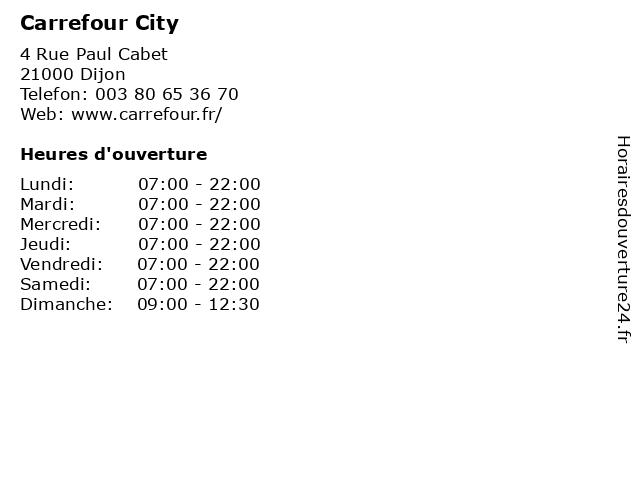 Carrefour City à Dijon: adresse et heures d'ouverture