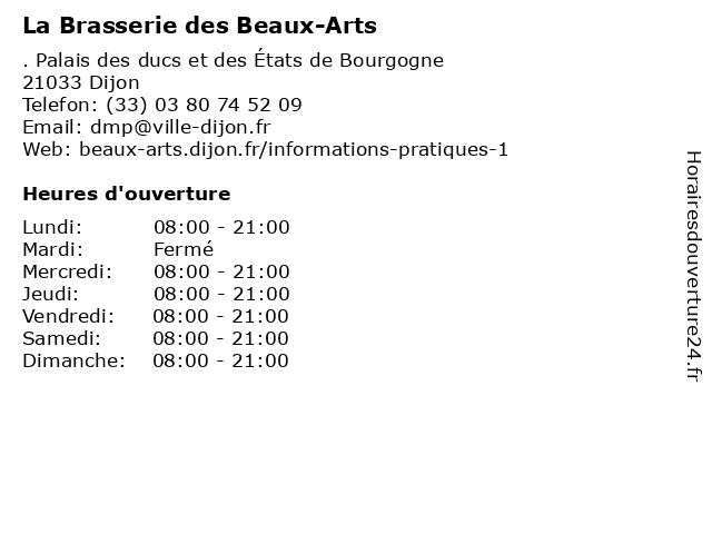 La Brasserie des Beaux-Arts à Dijon: adresse et heures d'ouverture