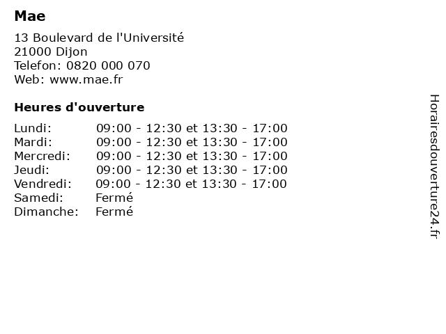 Mae à Dijon: adresse et heures d'ouverture