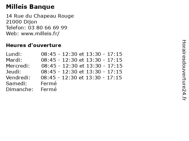 Milleis Banque à Dijon: adresse et heures d'ouverture
