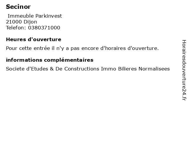 Secinor à Dijon: adresse et heures d'ouverture