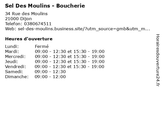 Sel Des Moulins - Boucherie à Dijon: adresse et heures d'ouverture