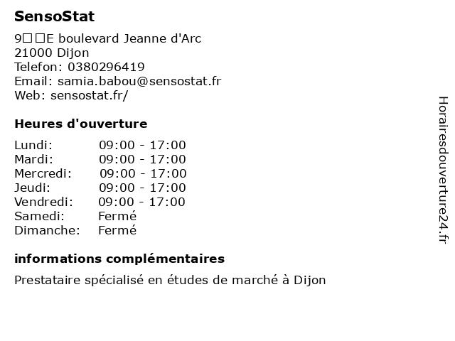 SensoStat à Dijon: adresse et heures d'ouverture