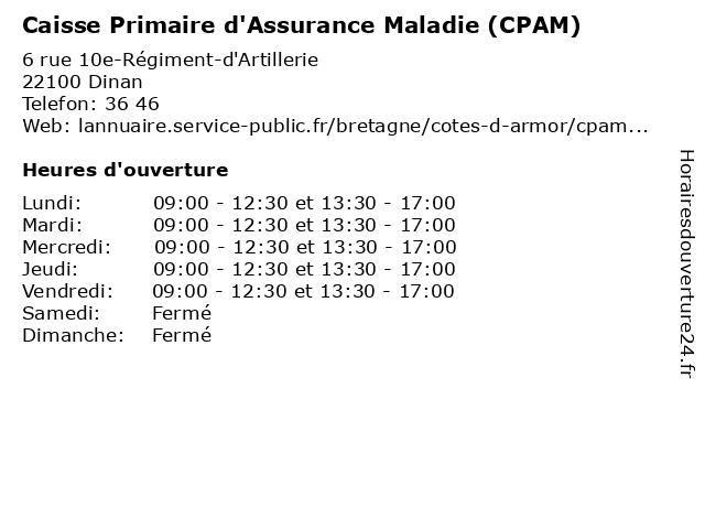 Caisse Primaire D'Assurance Maladie à Dinan: adresse et heures d'ouverture