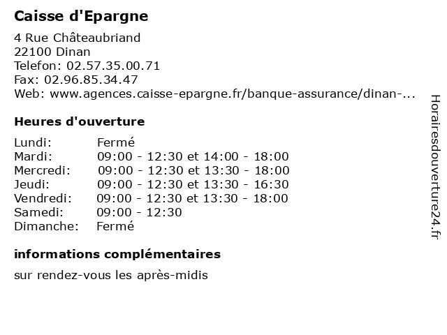 Caisse d'Epargne à Dinan: adresse et heures d'ouverture