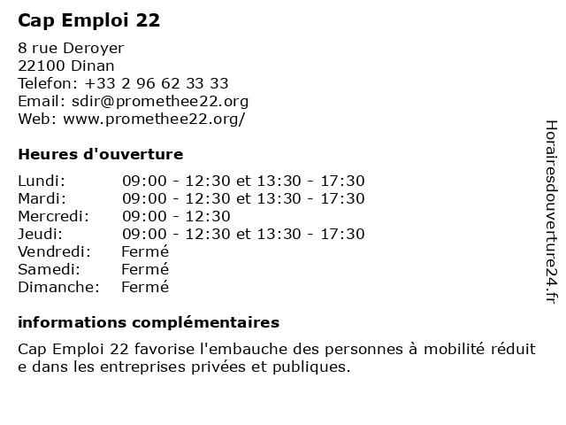Cap Emploi 22 à Dinan: adresse et heures d'ouverture