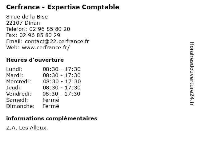 Cerfrance - Expertise Comptable à Dinan: adresse et heures d'ouverture