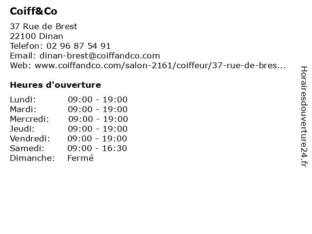 Coiff&Co à Dinan: adresse et heures d'ouverture