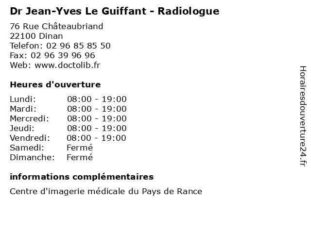 Dr Jean-Yves Le Guiffant - Radiologue à Dinan: adresse et heures d'ouverture