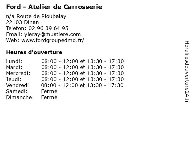 Ford - Atelier de Carrosserie à Dinan: adresse et heures d'ouverture
