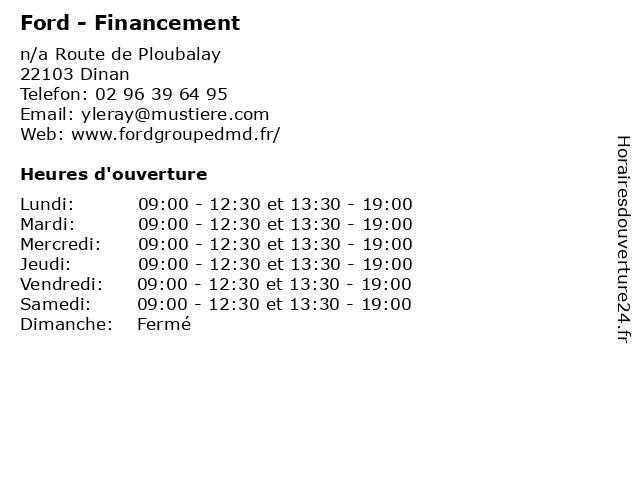 Ford - Financement à Dinan: adresse et heures d'ouverture