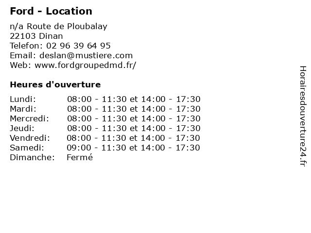 Ford - Location à Dinan: adresse et heures d'ouverture