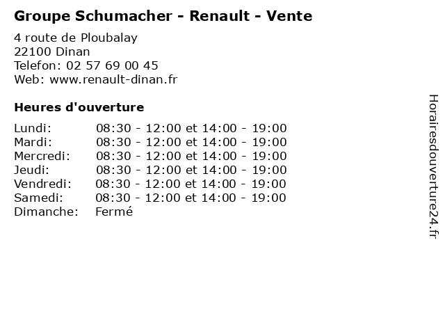 Groupe Schumacher - Renault - Vente à Dinan: adresse et heures d'ouverture