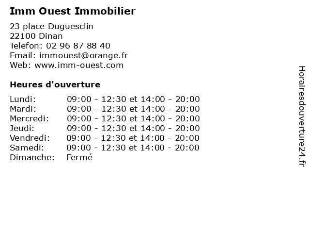Imm Ouest Immobilier à Dinan: adresse et heures d'ouverture