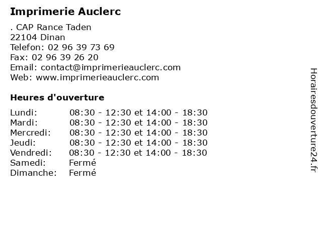 Imprimerie Auclerc à Dinan: adresse et heures d'ouverture
