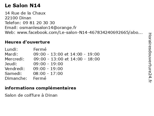 Le Salon N14 à Dinan: adresse et heures d'ouverture