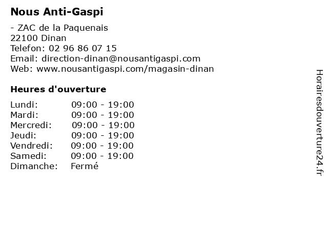 Nous Antigaspi à Dinan: adresse et heures d'ouverture