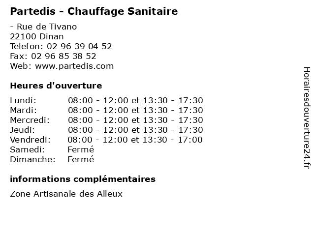 Partedis - Chauffage Sanitaire à Dinan: adresse et heures d'ouverture