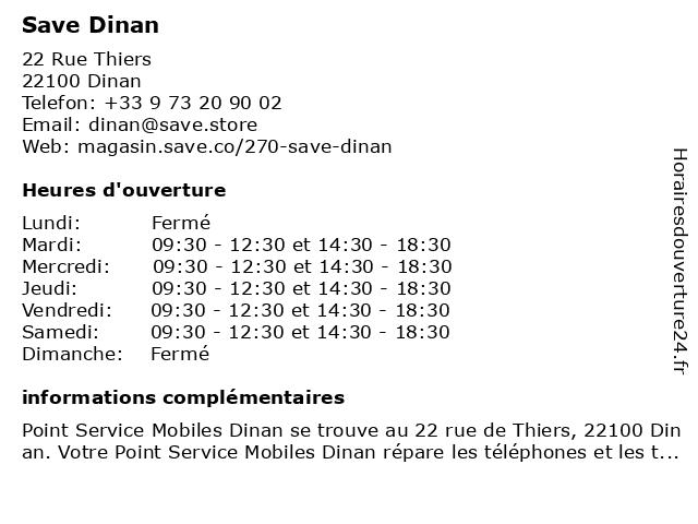 Save Dinan à Dinan: adresse et heures d'ouverture