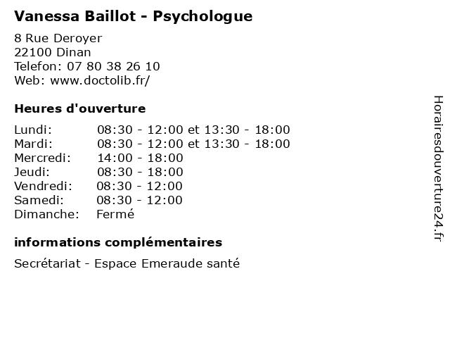 Vanessa Baillot - Psychologue à Dinan: adresse et heures d'ouverture