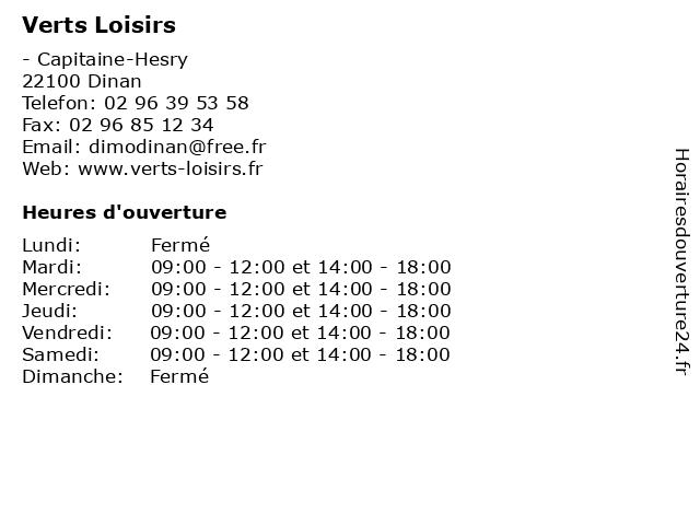 Verts Loisirs à Dinan: adresse et heures d'ouverture