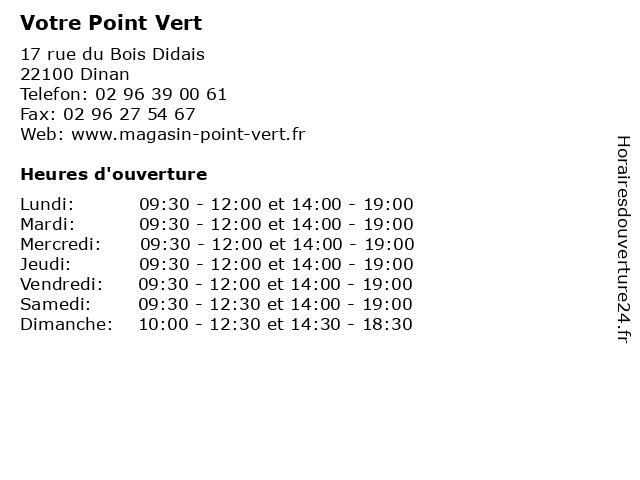 Votre Point Vert à Dinan: adresse et heures d'ouverture