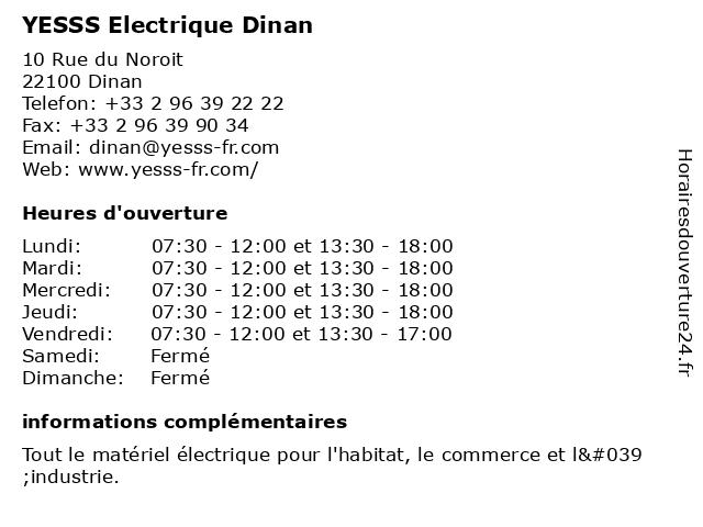 YESSS Electrique Dinan à Dinan: adresse et heures d'ouverture