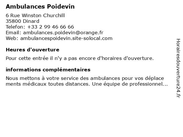 Ambulances Poidevin à Dinard: adresse et heures d'ouverture