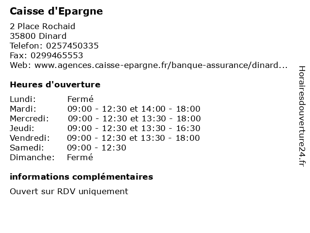 Caisse d'Epargne à Dinard: adresse et heures d'ouverture