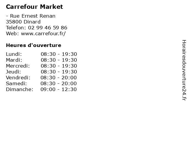 Carrefour Market à Dinard: adresse et heures d'ouverture