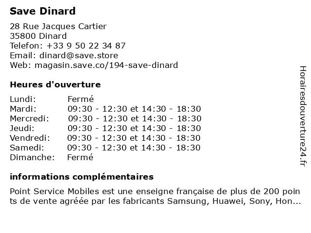 Save Dinard à Dinard: adresse et heures d'ouverture
