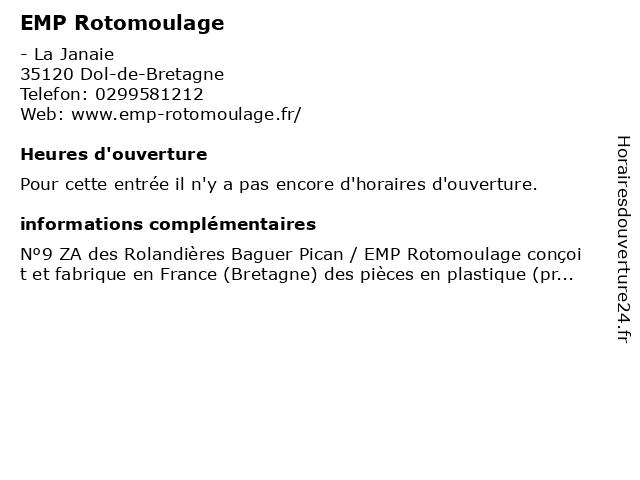 EMP Rotomoulage à Dol-de-Bretagne: adresse et heures d'ouverture
