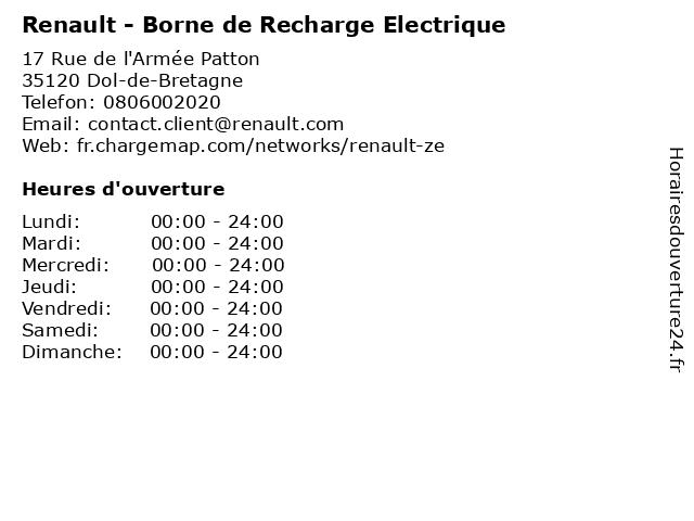 Renault - Borne de Recharge Electrique à Dol-de-Bretagne: adresse et heures d'ouverture