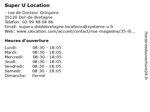 Super U Location à Dol-de-Bretagne: adresse et heures d'ouverture