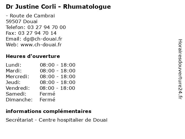 Dr Justine Corli - Rhumatologue à Douai: adresse et heures d'ouverture