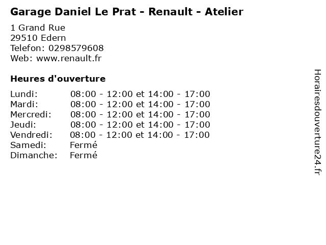 Garage Daniel Le Prat - Renault - Atelier à Edern: adresse et heures d'ouverture