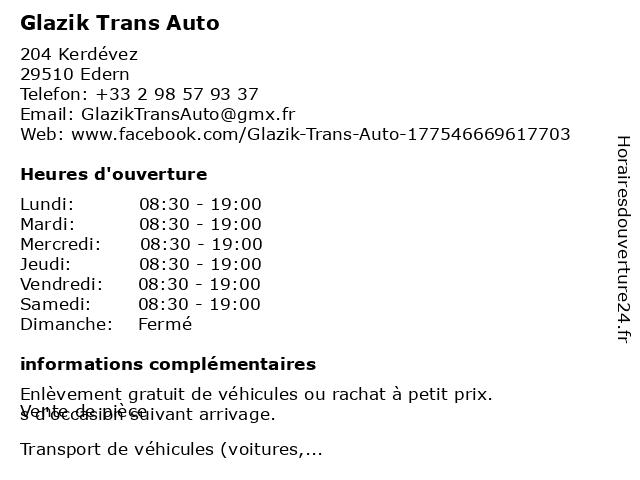 Glazik Trans Auto à Edern: adresse et heures d'ouverture